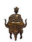 17C Chinese Bronze Elephant Censer Incense Burner