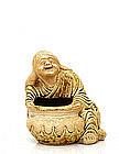 Meiji Japanese Hirado Figurine Holding Bowl