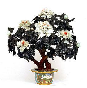Large Chinese Hardstone Jade Jewel Tree Cloisonne Pot