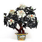 Large Chinese Hardstone Jade Jewel Tree Cloisonne Pot