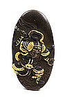 19C Japanese Sword Fuchi & Kashira Oni Warrior