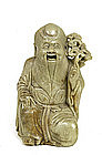Old Chinese Soapstone Shoulo Figure Figurine