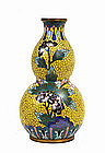 Old Chinese Export Cloisonne Wall Vase Gourd