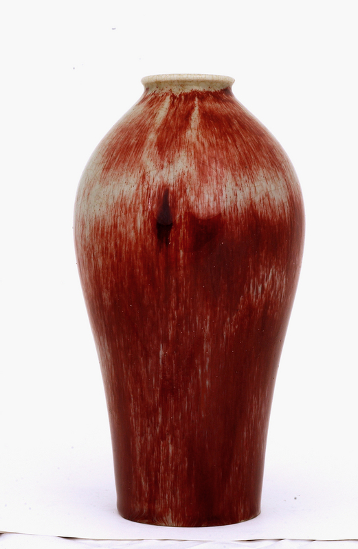 Old Japanese Ox Blood Flambe Studio Porcelain Vase Sg