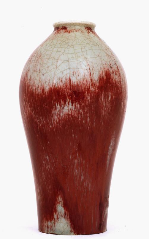 Old Japanese Ox Blood Flambe Studio Porcelain Vase Sg