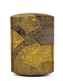 19C Japanese Makie Lacquer 5 Case Inro Fan Design