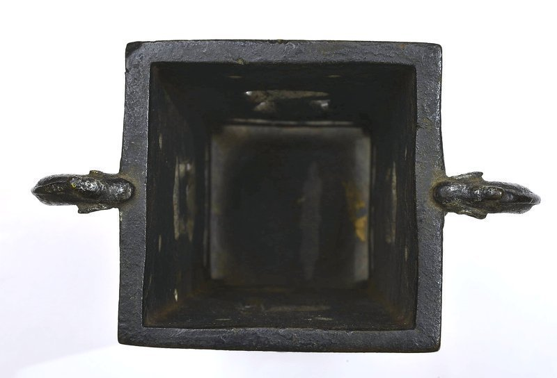 16C Chinese Ming Bronze Square Vase with Figure