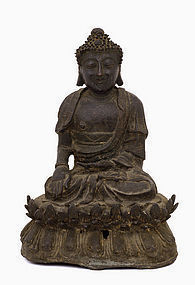 16C Ming Chinese Bronze Seated Buddha
