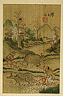19C Chinese Silk Painting Leaf Album Book Signed