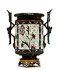 Late 19C Old French Gilt Enamel Cloisonne Footed Urn