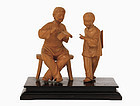 Chinese Culture Revolution Boxwood Carving Figure