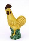 Old Chinese Export Yellow Sancai Rooster Bird Mudman