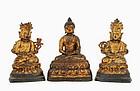 16/17C Chinese Lacquer Gilt Bronze Trio Buddha