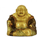 Old Chinese Famille Rose Gilt Happy Buddha Shiwan
