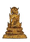 19C Thai Siam Bronze Gilt Buddha Figurine