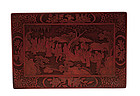 19C Chinese Lacquer Cinnabar Tray 8 Immortal God