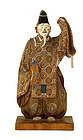 Old Japanese Ittobori Wood Doll Noh Dancer Figurine