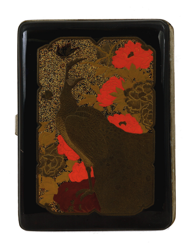 Old Japanese Lacquer Cigarette Box Case Peacock MK