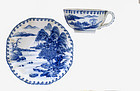 Old Japanese Blue White Imari Seto Cup and Saucer