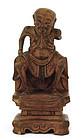 19C Chinese Boxwood Carved Buddha Louhan Monk Figurine