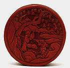 Old Chinese Lacquer Round Box Figurine