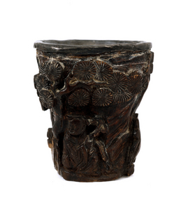 19C Chinese Aloeswood Chenxiangmu Carved Cup Figure