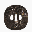 18C Japanese Mixed Metal Tsuba Sword Samurai