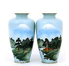2 Japanese Wireless Cloisonne Vase Mt. Fuji