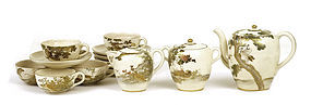 Old Japanese Satsuma Tea Set Teapot Crane Bird  Mk