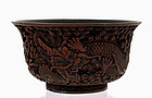 19C Chinese Cinnabar Dragon Bowl