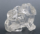 19C Chinese Rock Crystal Carving Fu Lion Dog