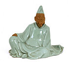 Japanese Celadon Studio Man Figure Figurine