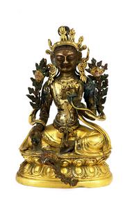 19C Chinese Gilt Bronze Quan Yin Buddha Figurine
