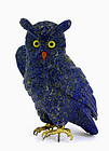 Lapis Carved Owl Bird Figurine w Silver Claws