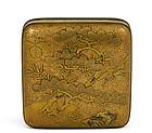 19C Japanese Makie Lacquer Box Pine & Crane