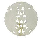 19C Chinese White Jade Nephrite Pendant Fish