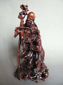Early 20th Century Chinese Hard wood Carving - ShouXing
