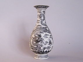 Rare Early 19C Biscuit Porcelain Dragon Vase Daoguang