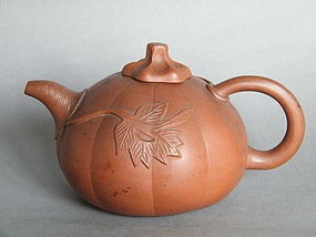 Pumpkin Shaped Yixing Teapot - 18th or 19th Century