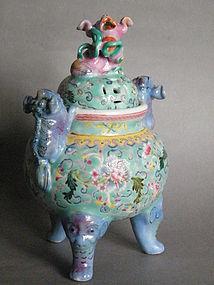 Late 18C Style Famille Rose Censer Qianlong Mark 19/20C