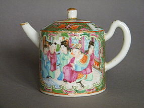 19th C Chinese Export Famille Rose Teapot  c1850-1900
