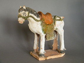 Painted & Glazed Ming Dynasty Pottery Horse (1368-1644)