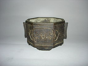 Rare Late Ming Dynasty Eight -Sided  Bronze Censer