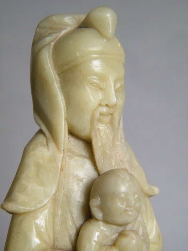20thCent  Carved Soapstone Figure Zhang Xian c1900-1949