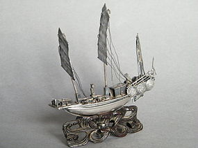 Small  19thC Chinese Export Silver War Junk circa 1850
