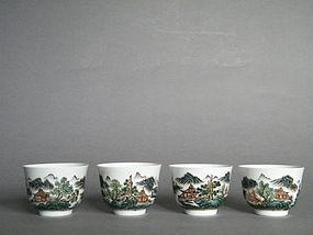 Early 20C Fencai Enamelled Wine Cups - Hongxian Mark