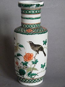 19th Century Kangxi Style Famille Verte Rouleau Vase AF