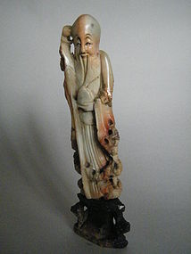 19th Century Carved  Soapstone Figure -  Shouxing c1870
