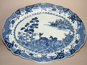 Large 18thC  B/W Export Serving Dish Qianlong 1736-1795