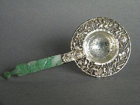Fine Export  Silver &  Jadeite Tea Strainer c1890-1910